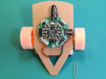 Our bumper bot is light enough that the humble paper clip will provide the needed stability and