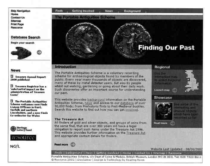Figure 4. The homepage of the finds.org.uk website.