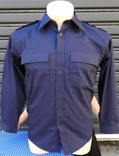 Mens Long Sleeve Shirt with Epaulettes 60% Cotton, 33%