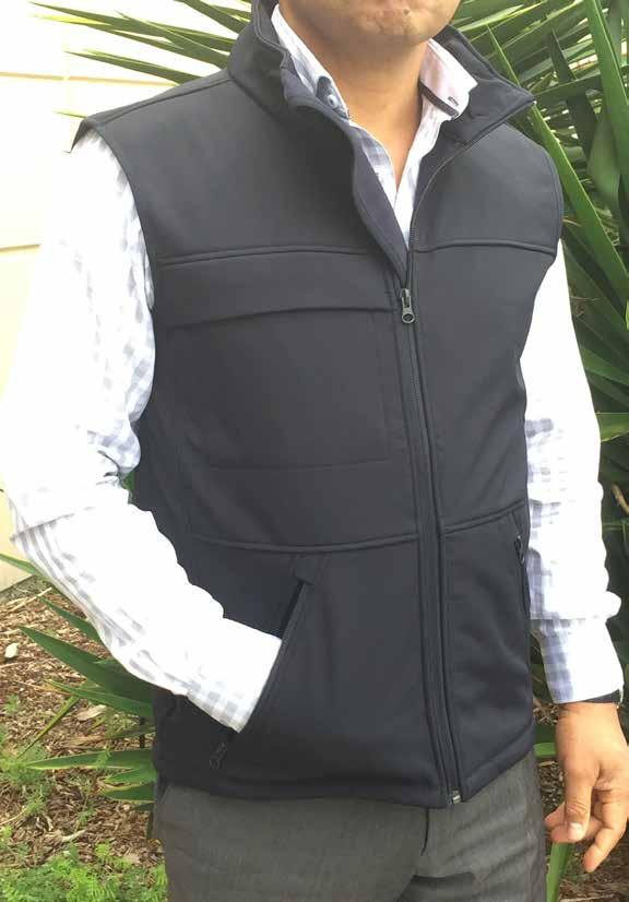 Mens Soft Shell Vest 100% Bonded Polyester Soft Shell Raised Collar