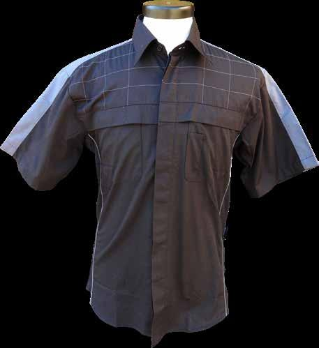 Grey Stitching on chest only Fabric Chest Flap Underarm Air Venting Grey Piping Pen Pocket Back Yoke Air Venting with Contrast Bar Tacks Scratchless Placket Pit Crew Shirt 60% Cotton, 40% Polyester
