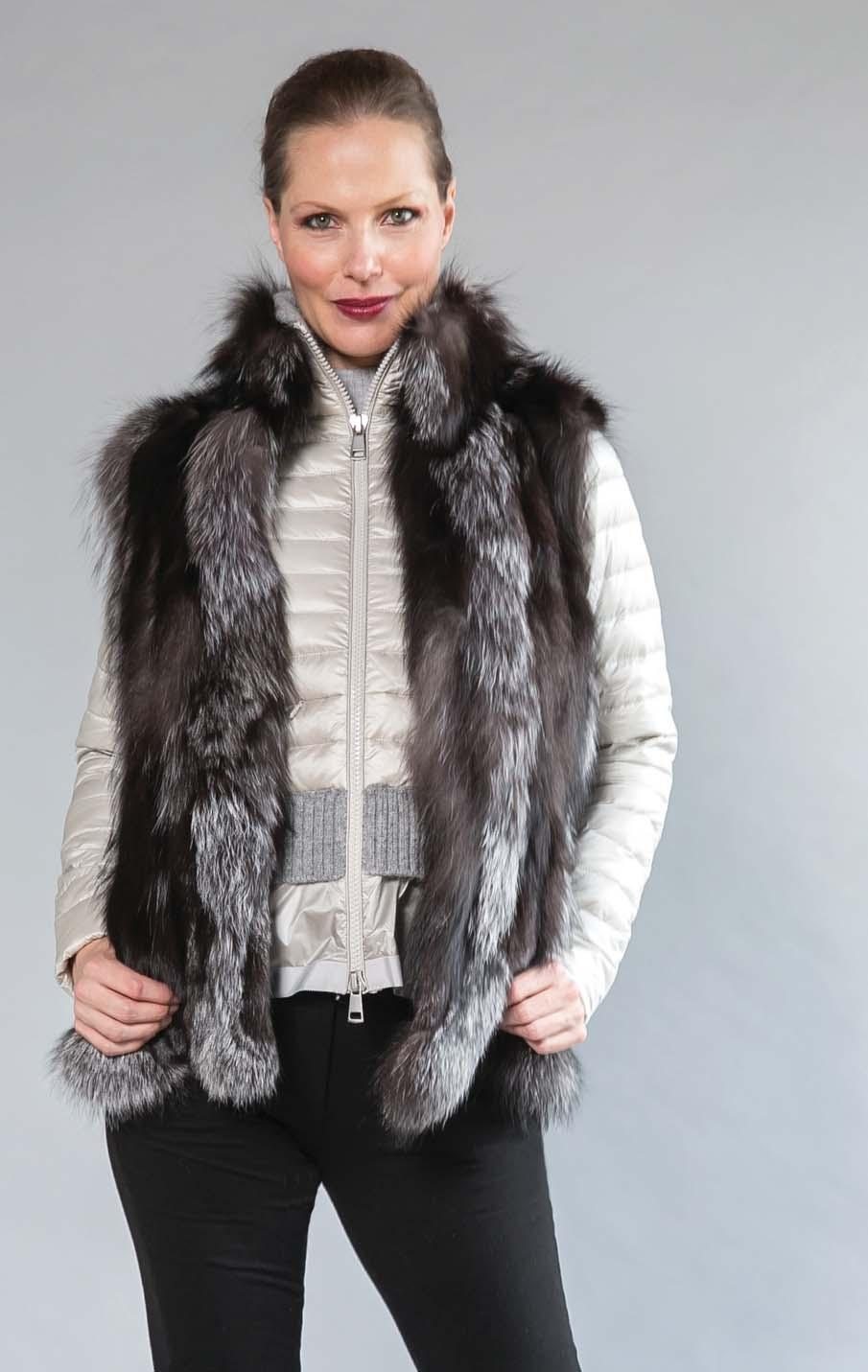 BARRINGTON S OWN silver fox sections vest.