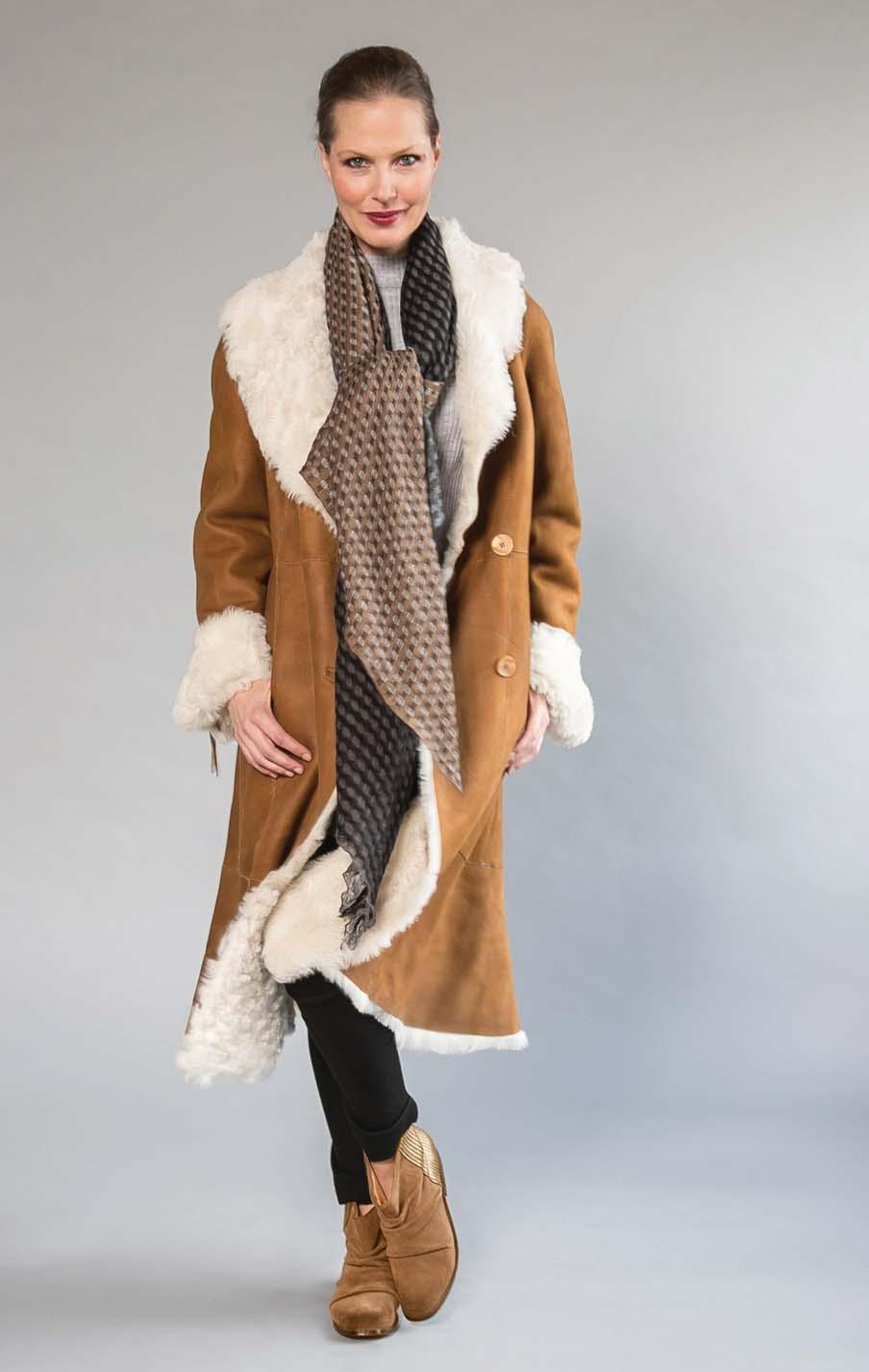 HISO raw edged superfine shearling coat. Scotch Cream only.