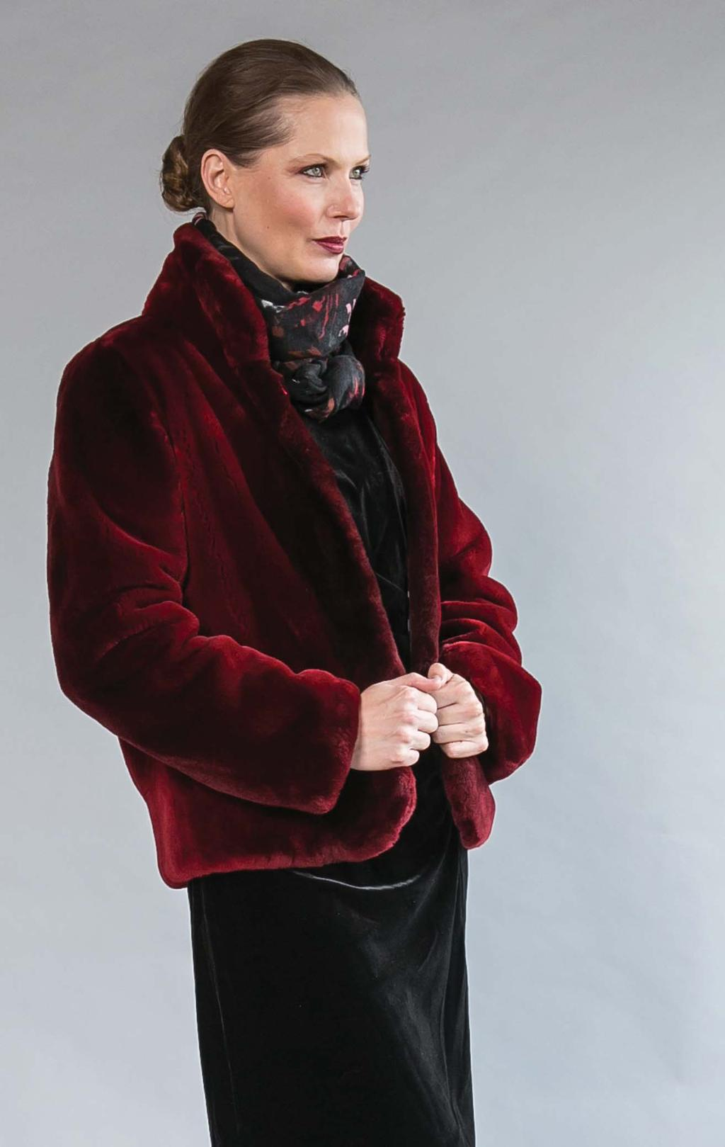 BARRINGTON S OWN sheared beaver jacket. Cranberry only. $4500 Made in Canada!