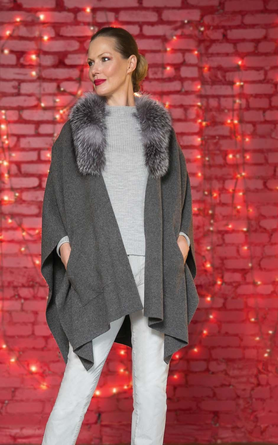 SOFIA CASHMERE 100% cashmere knit wrap with fox