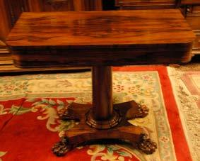 163 William IV Rosewood Fold over Card Table on centre pod with platform Base