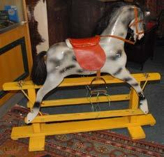 188 Victorian Mahogany tray backed cylindrical style Sideboard. 189 Old Child s Rocking Horse.