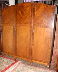 202 Inlaid Mahogany 3 door Wardrobe. 203 Mahogany Chippendale style Armchair and 2 Diningroom Chairs. 204 Victorian Mahogany Chest of 5 Drawers on bun feet. 205 Victorian Mahogany two door Wardrobe.