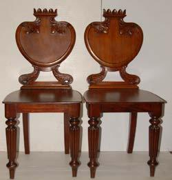 156A Pair of Victorian Mahogany Shield back Hall Chairs.