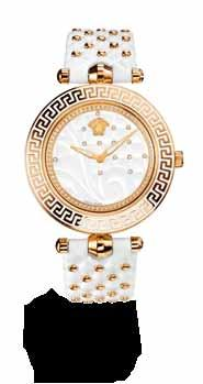 The enamel dial is strewn with studs and diamonds while the rose gold bezel is engraved with a Greek key motif. The watch features a Swiss-made, quartz Ronda 762.