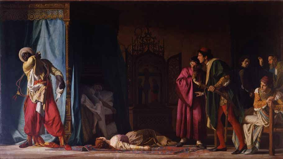 One is an 1866 oil painting entitled The Death of Othello by 19th-century Venetian artist Pompeo Molmenti and the other is Strawberry-Ectasy-Green, an audio, visual installation created by American