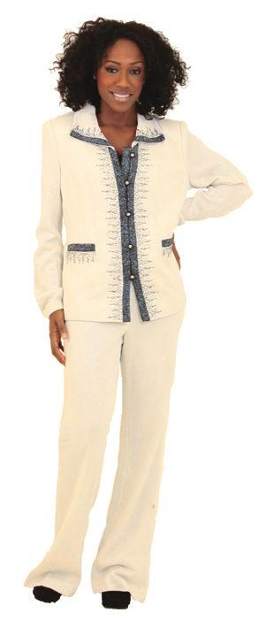 C-W125 $19.95 Designer White Knit Church Suit Shell: 80% acrylic, 10% wool, 10% lurex; Lining: 97% polyester, 3% spandex.