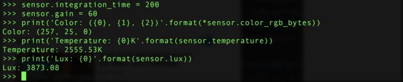 In addition there are some properties you can both read and write to change how the sensor behaves: integration_time - The integration time of the sensor in milliseconds. Must be a value between 2.