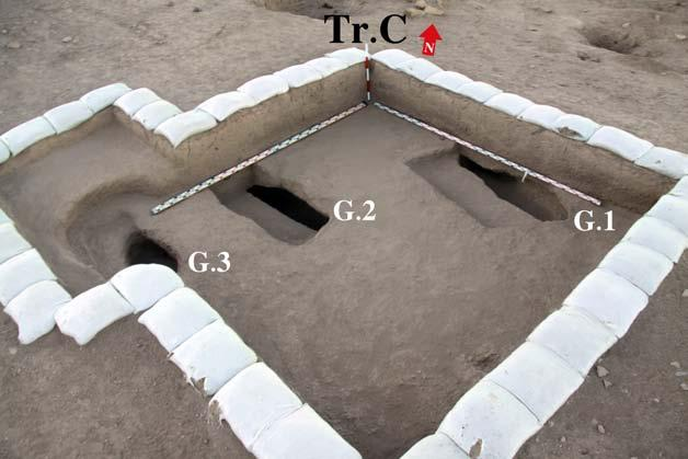 Short fieldwork reports 85 Figure 2. Locations of graves excavated in 2017, Trench C. In total, five new burials were found (two in trench B and three in trench C).