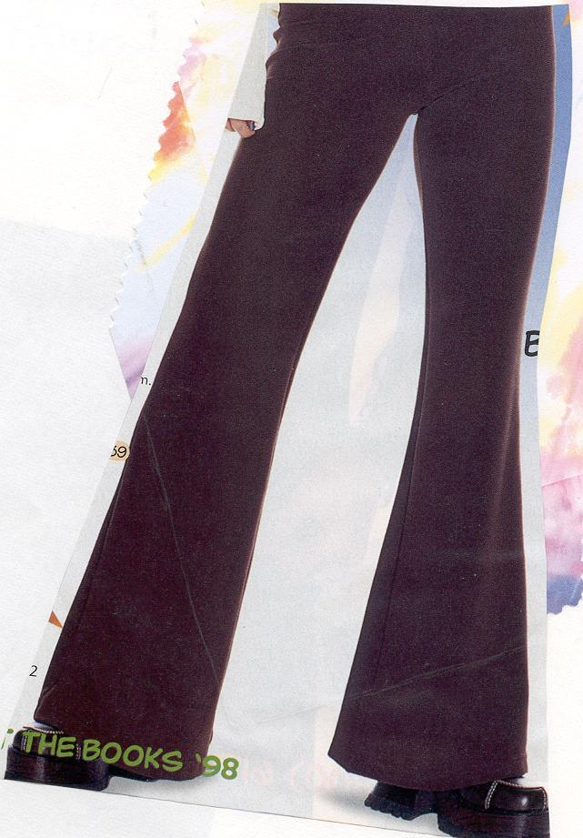 Bell Bottom Pants Pants that flare at the bottom, traditionally worn by