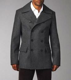 double-breasted navy blue wool coat