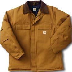 Corduroy collar with snaps under collar for optional hood. Chest sizes 36-50 even $98.