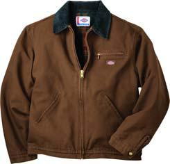 sanded duck jacket features an authentic, warm blanket lining, corduroy collar and bi-swing back.