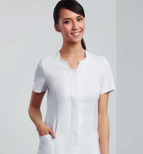 pockets Collarless with V shaped neck detail Centre back
