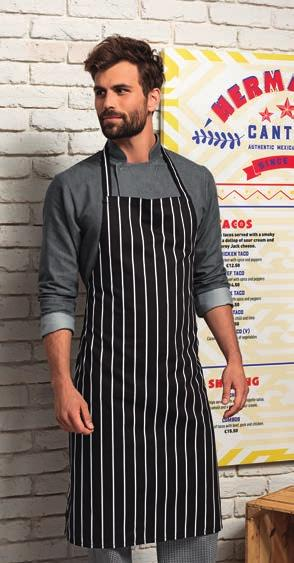 PR112 Premier Fairtrade Apron 100% Fairtrade certified cotton twill. Crease resist finish. Self fabric neck tie with adjustable buckle. Self fabric ties.