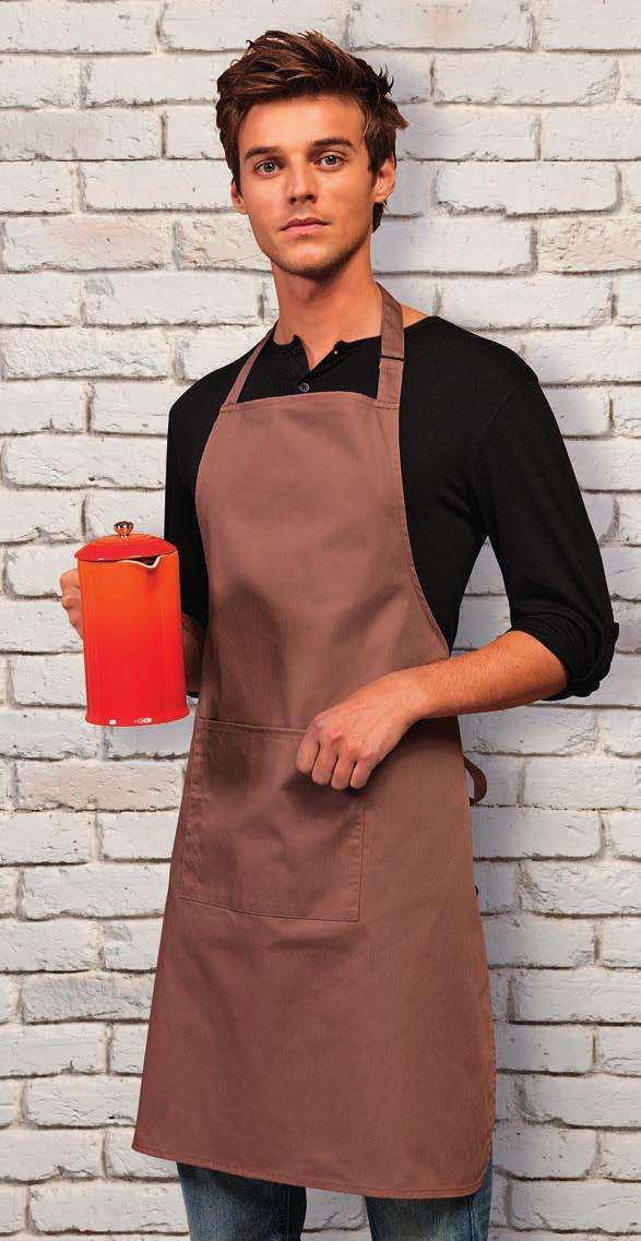 K518 Bargear Superwash 60 C Bib Apron with Pocket Self fabric neck tie with plastic adjustable buckle. Self fabric 89cm ties.