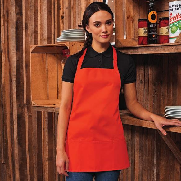 Weight: 240 gsm deep kelly green apple green PR159 Premier Colours 2-in-1 Apron Three pocket short bib apron.