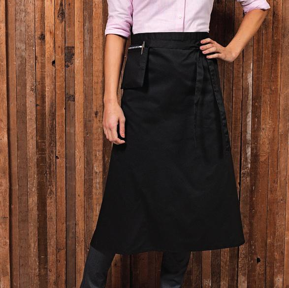 PR156 DE106 Dennys Polyester Waist Apron with Pocket Crease resistant. Front pocket. Self fabric ties.