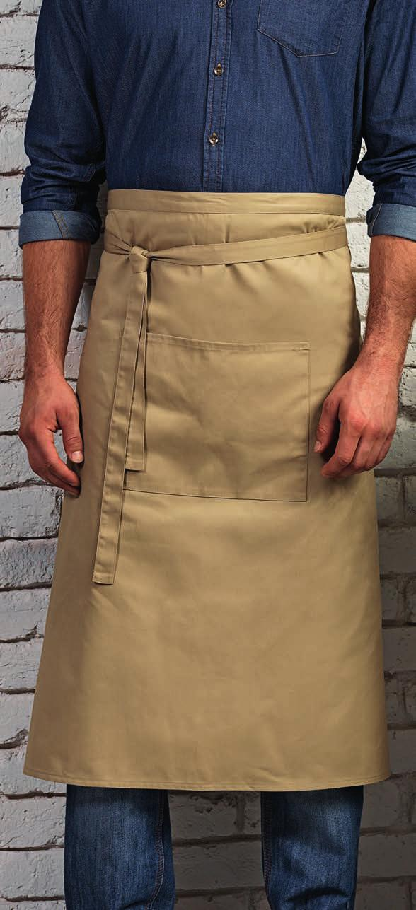 88020 LONG WAIST APRONS 463 PR158 88020 SOL S Greenwich Apron Large front pocket with two compartments. Self fabric ties.