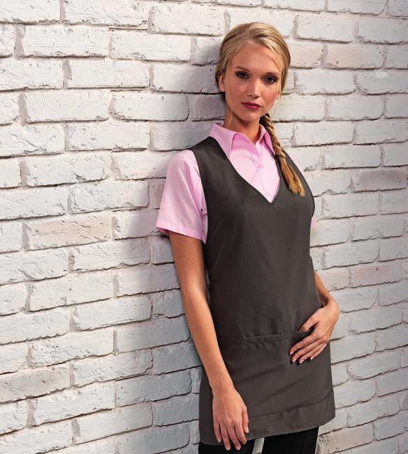 464 DE111 [DP97] TABARDS PR177 PR177 Premier Wrap Around Tunic Apron 100% polyester plain weave. Over the head style. Front to back wrap around. V neck and side vents. Double front pocket.