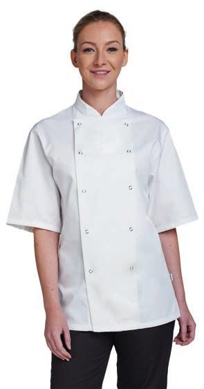 [DE335] AF002 Dennys Short Sleeve Chef s Jacket Unisex styling. Mandarin collar stand with topstitching.