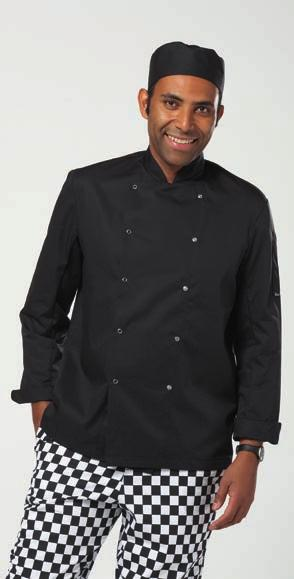 Long Sleeve Stud Front Chef s Jacket Mandarin collar stand with topstitching. Soft touch and superior comfort. Stud fastened. Industrial laundry 85 C.