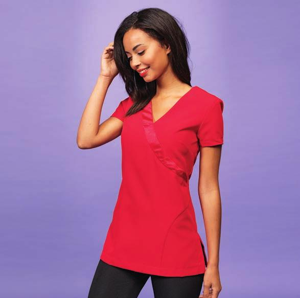 PR683 BEAUTY & SPA 445 PR682 PR683 Premier Ladies Blossom Short Sleeve Tunic 100% polyester plain weave. Easy care fabric. Mandarin collar. Feature button front fastening with concealed zip.