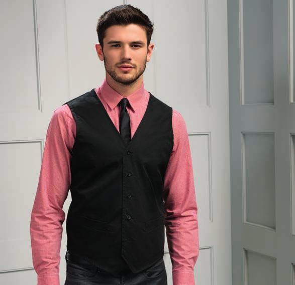 PR620 Premier Hospitality Waistcoat Easy care fabric. Five button contemporary style. Two functional watch pockets.