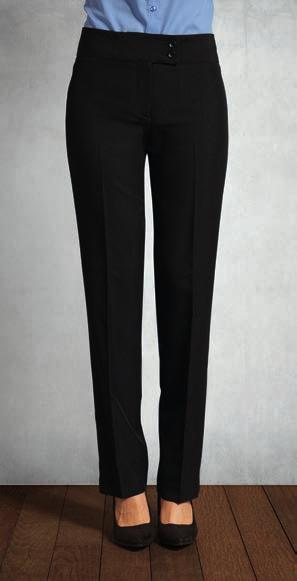 Polyester Trousers 100% polyester plain weave. Easy care fabric. Straight leg style. Belt loops.