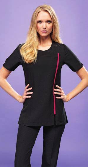 446 BEAUTY & SPA PR686 PR685 PR686 Premier Ladies Camellia Short Sleeve Tunic 100% polyester plain weave. Easy care fabric. Cross over neckline. Asymmetric zip front. Vented cuff.