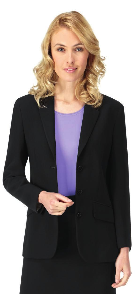 490 CP40 SUITS & BUSINESS WEAR CP41 CP41 Skopes Chloe Jacket 100% double layer polyester. Contrast polyester lining. Shorter style. Two button single breasted.
