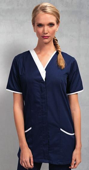 Weight: 110 gsm dark grey PR604 Premier Ladies Vitality Healthcare Tunic Easy care fabric. Fitted styling with side and back pleats.