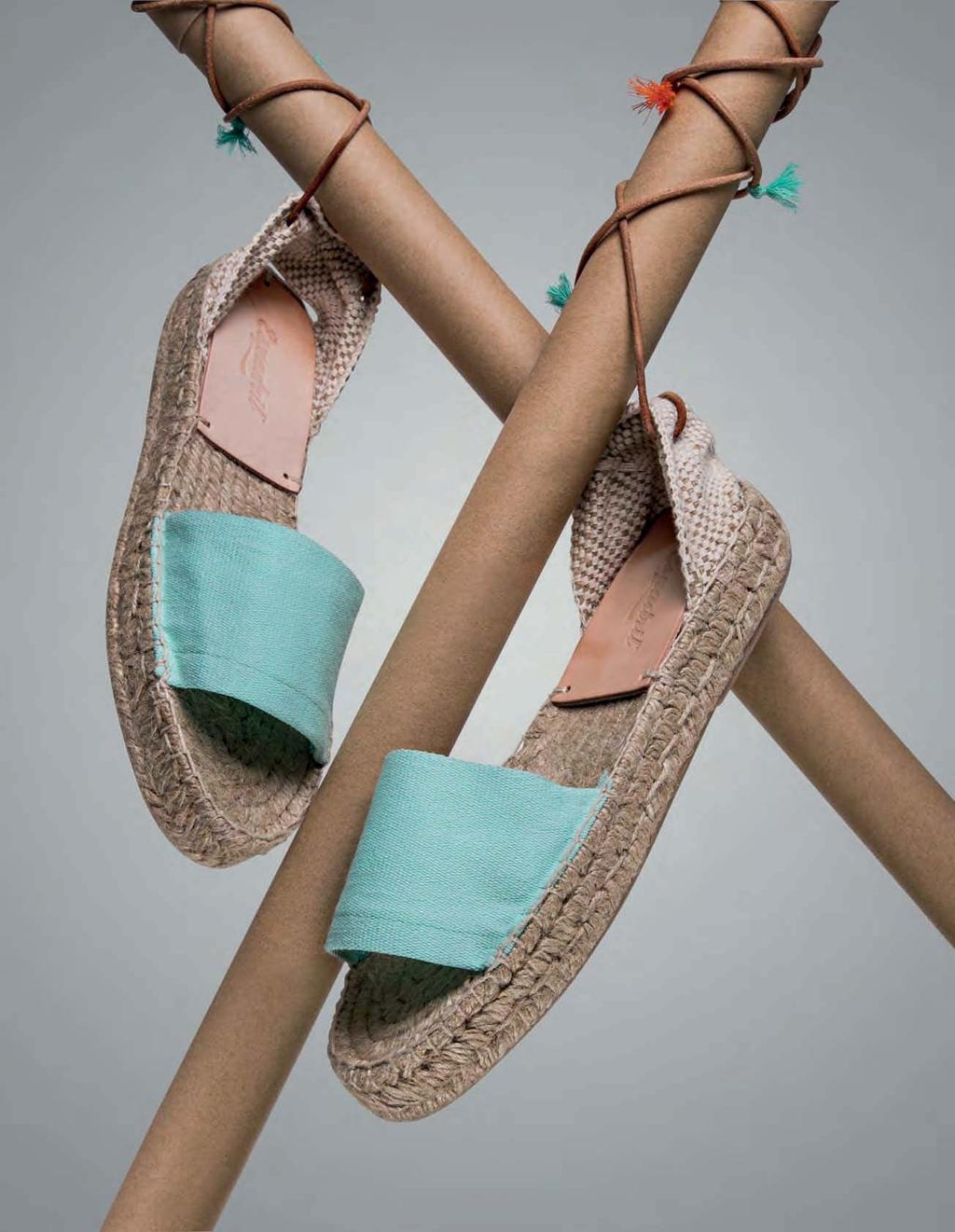 THE NEW BLUE ESPADRIL, R800, ESPADRIL SOLE MATE A touch of turquoise, tied-up laces and a woven sole, the espradille is a