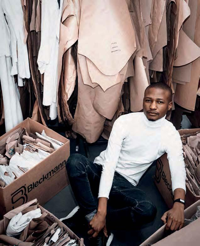 THE PATTERN-MAKER NTANDO NGWENYA FOR DAVID TLALE Amid the humming of sewing machines in an industrial building in Johannesburg is where we meet Ntando Ngwenya, Assistant Designer and pattern-maker