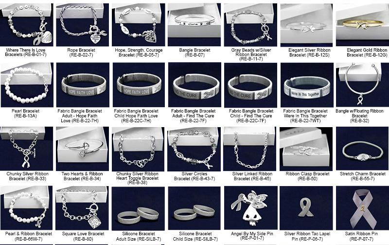 Gray Ribbon Fundraising Kits This sampler kit has 1 sample of every jewelry item that we sell.