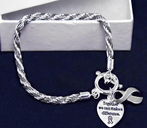A gray ribbon charm and a heart charm that says, Where There Is Love There Is Life. Comes in optional gift box.
