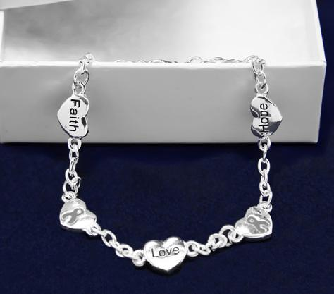 Beautiful sterling silver plated stretch bracelet that has gray beads with a silver ribbon. Comes in optional gift box.