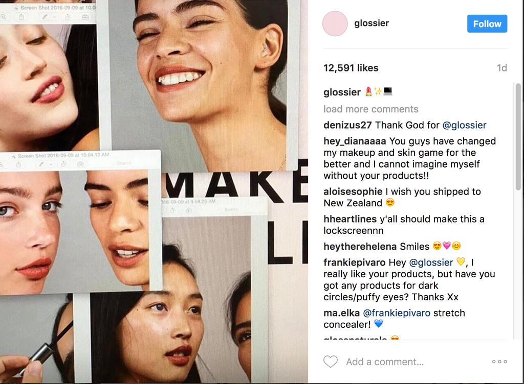 THE MARKET o Glossier is a makeup and skincare company o Glossier predominantly attracts millennials that are