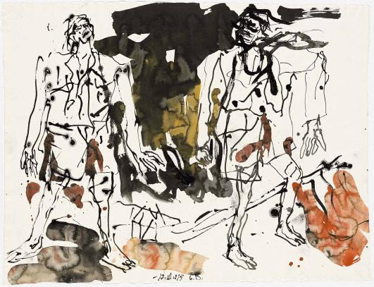 Georg Baselitz «Die grosse Freunde», 2015 - ink and watercolor on paper -