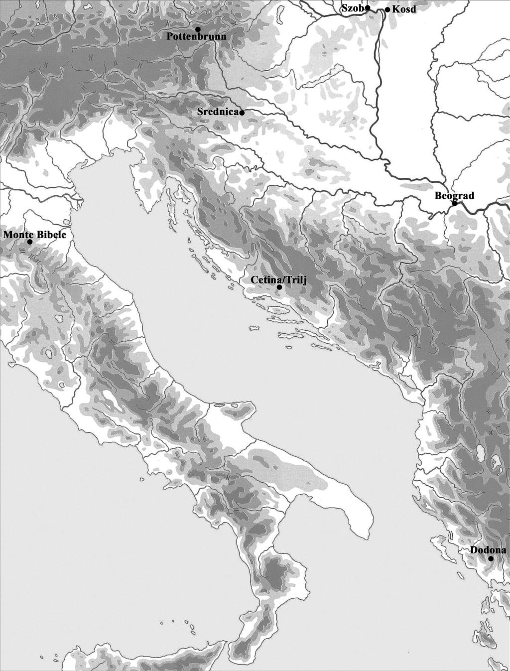 Fig. 3. Map presenting the major sites mentioned in the text nean.