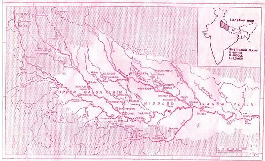 EVOLUTION OF CULTURE IN THE UPPER GANGA VALLEY 4 Map No. 1: Area Map of Upper Ganga Plain The word Doab is a Persian word consisting of Do-two, Ab-water, which means the land between two waters 8.