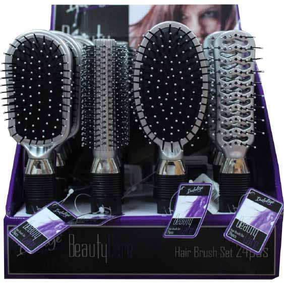 For Your Hair Indulge Silver Hair Brush Display 24 Assorted