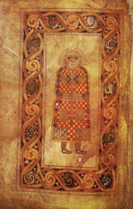 Hiberno Saxon Monasteries Hiberno (Relates to ireland) Man symbol of Saint Matthew, folio 21 verso of the book of Durro Iona scotland 660-680 Was written and decorated in the monastic scriptorium (a