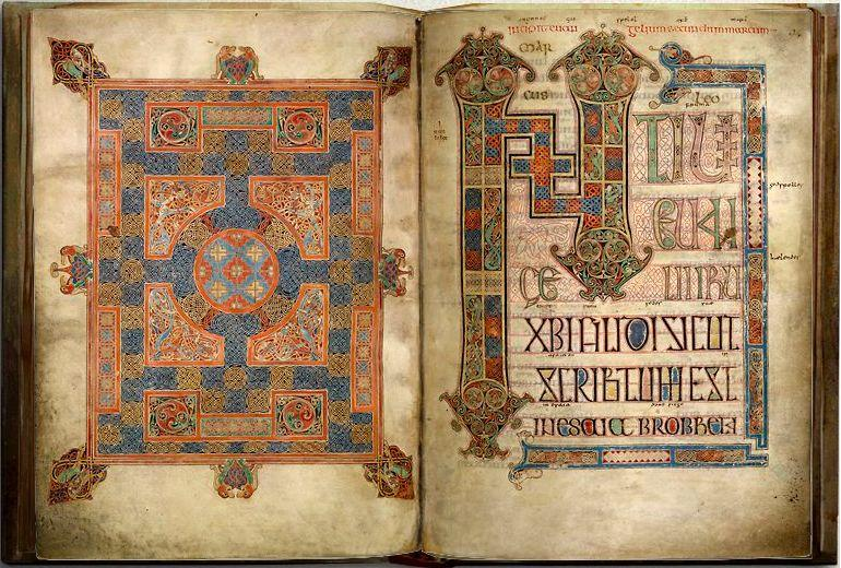 Hiberno Saxon Monasteries Cross inscribed carpet page, Lindisfarne Gospels, England 628-721 Carpet page were pages that resembled textiles, carpets etc Northern