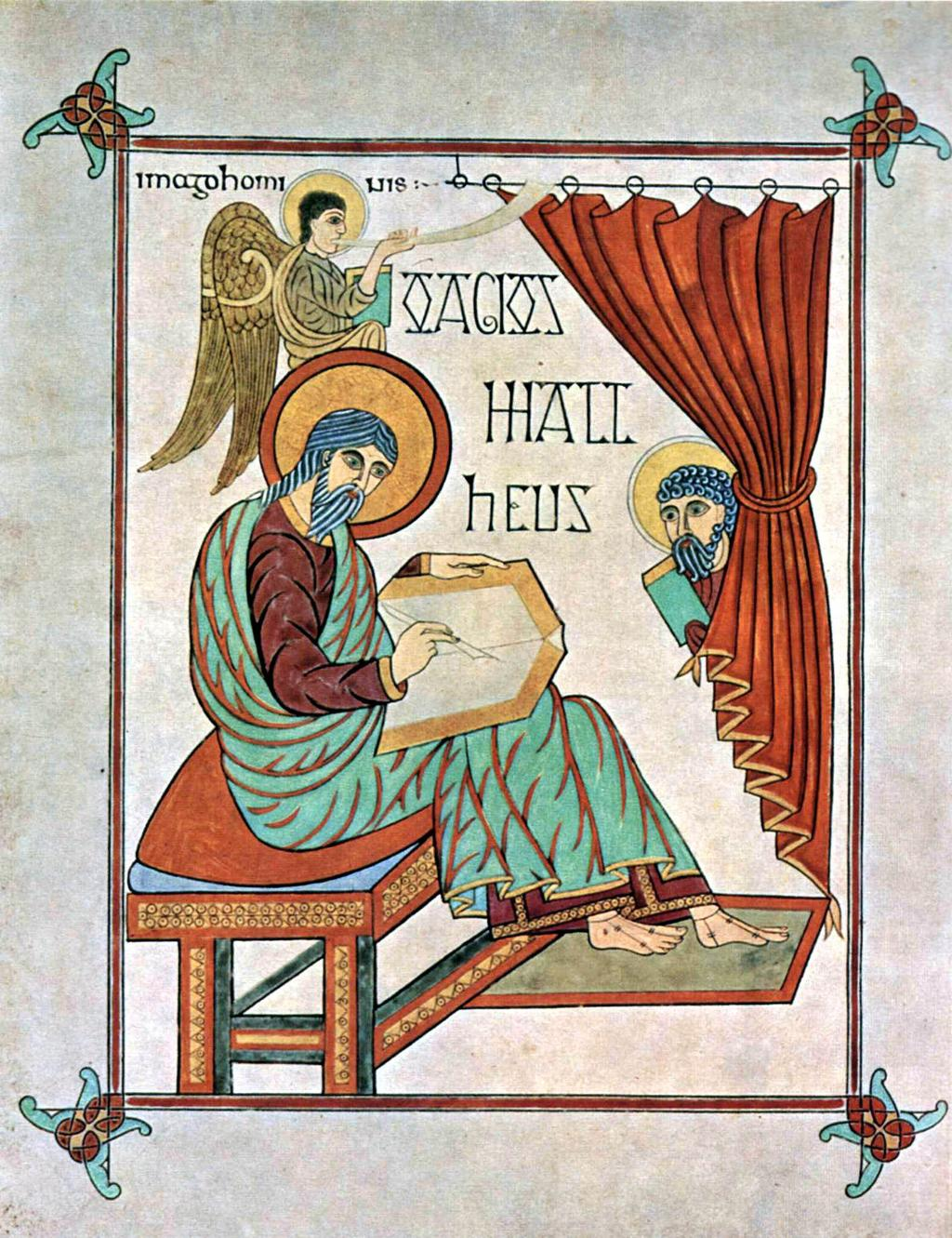 Hiberno Saxon Monasteries Saint Matthew Lindisfarne Gospels, England Insular manuscripts based some of their compositions on classical pictures from imported Mediterranean books Portrait of Saint